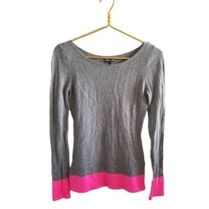 || EXPRESS || Small Grey & Hot Pink Wool Sweater